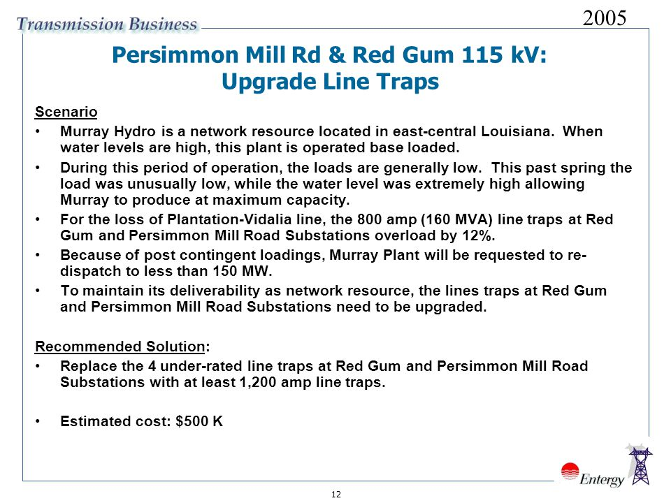 12 Persimmon Mill Rd & Red Gum 115 kV: Upgrade Line Traps Scenario Murray Hydro is a network resource located in east-central Louisiana.