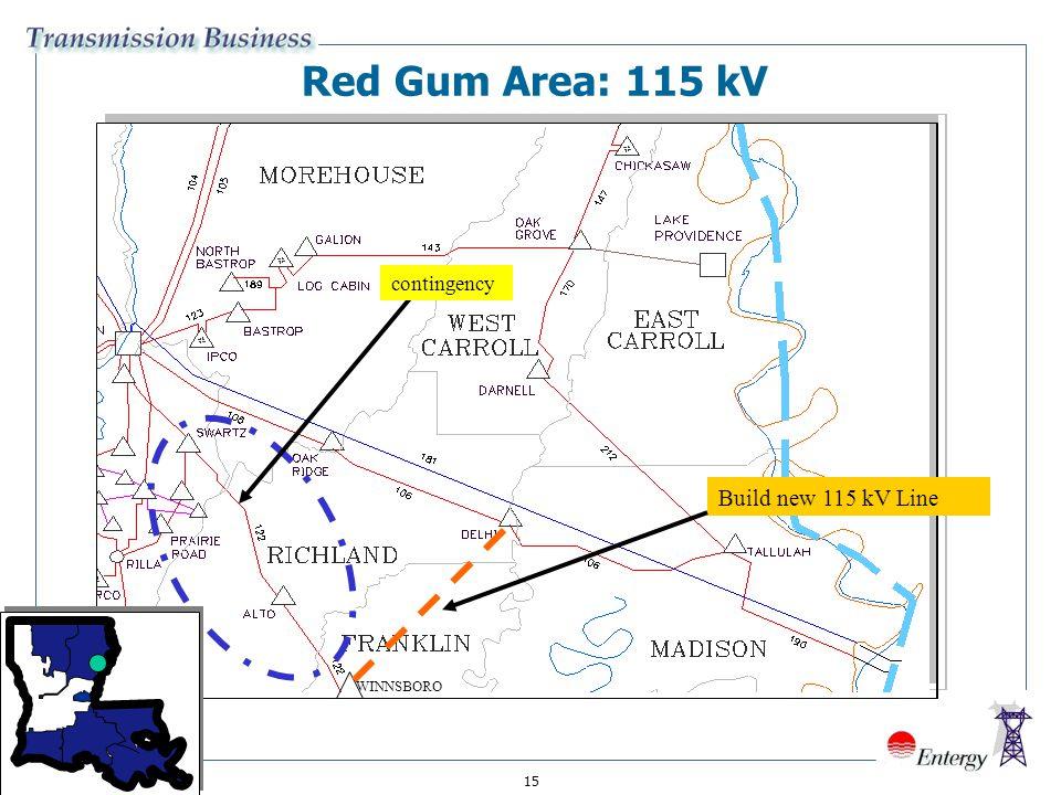 15 Red Gum Area: 115 kV Build new 115 kV Line WINNSBORO contingency