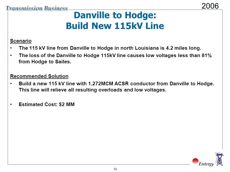 16 Danville to Hodge: Build New 115kV Line Scenario The 115 kV line from Danville to Hodge in north Louisiana is 4.2 miles long.