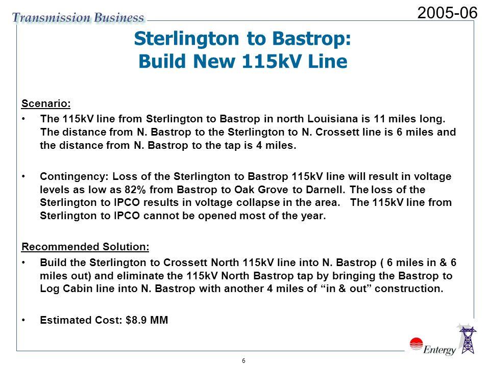 6 Sterlington to Bastrop: Build New 115kV Line Scenario: The 115kV line from Sterlington to Bastrop in north Louisiana is 11 miles long.