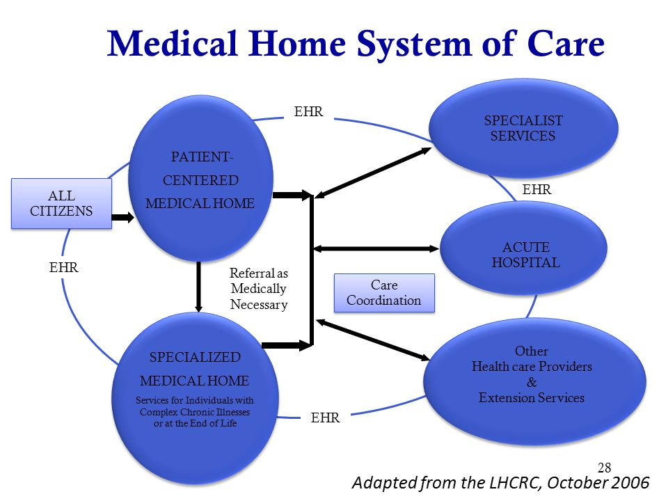 28 SPECIALIST SERVICES SPECIALIST SERVICES ALL CITIZENS ALL CITIZENS Referral as Medically Necessary Care Coordination Care Coordination ACUTE HOSPITAL Other Health care Providers & Extension Services EHR Medical Home System of Care SPECIALIZED MEDICAL HOME Services for Individuals with Complex Chronic Illnesses or at the End of Life PATIENT- CENTERED MEDICAL HOME Adapted from the LHCRC, October 2006
