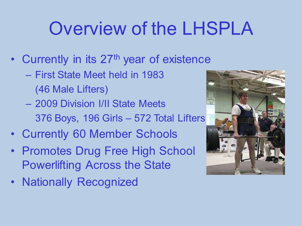 Overview of the LHSPLA Currently in its 27 th year of existence –First State Meet held in 1983 (46 Male Lifters) –2009 Division I/II State Meets 376 B