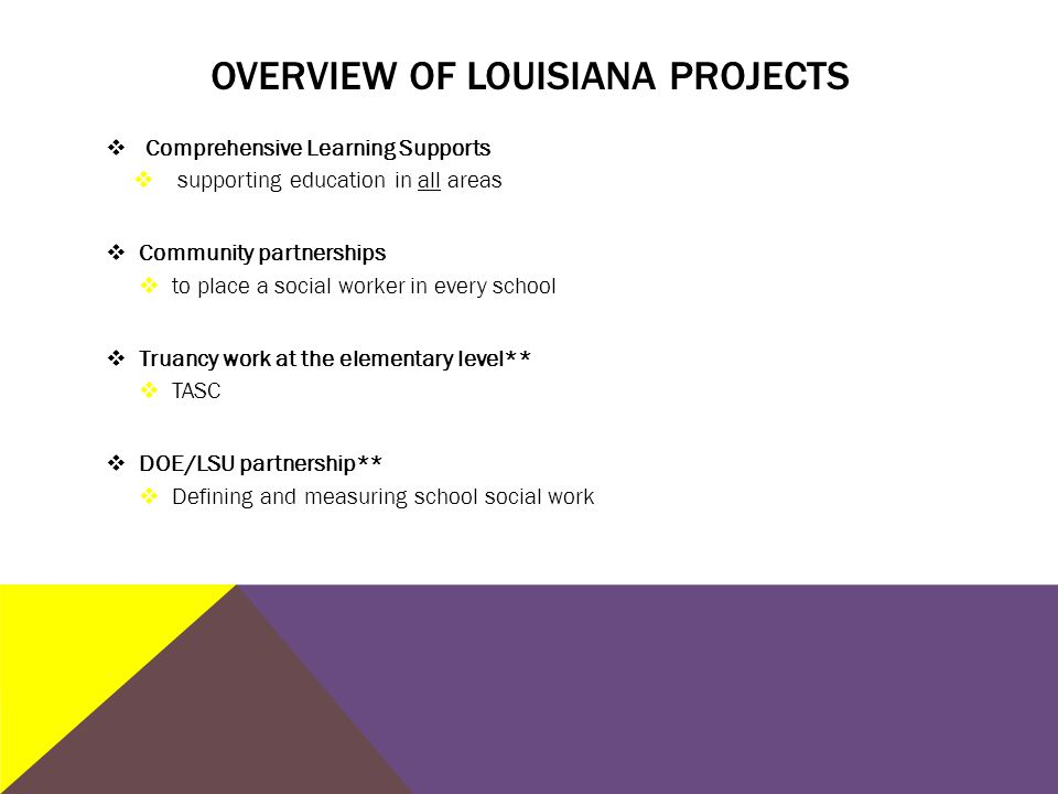 OVERVIEW OF LOUISIANA PROJECTS  Comprehensive Learning Supports  supporting education in all areas  Community partnerships  to place a social worker in every school  Truancy work at the elementary level**  TASC  DOE/LSU partnership**  Defining and measuring school social work