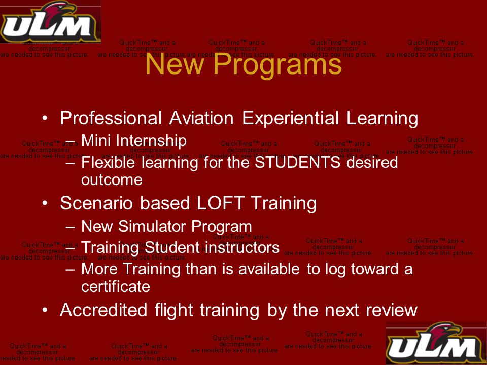New Programs Professional Aviation Experiential Learning –Mini Internship –Flexible learning for the STUDENTS desired outcome Scenario based LOFT Training –New Simulator Program –Training Student instructors –More Training than is available to log toward a certificate Accredited flight training by the next review