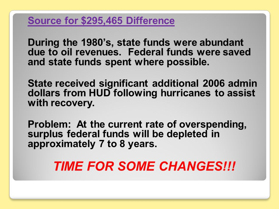Source for $295,465 Difference During the 1980's, state funds were abundant due to oil revenues.