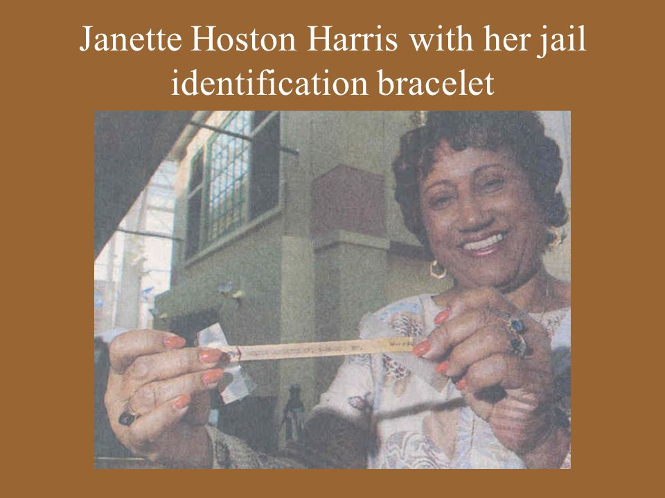 Janette Hoston Harris with her jail identification bracelet