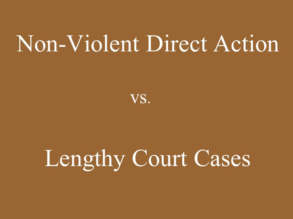 Non-Violent Direct Action vs. Lengthy Court Cases
