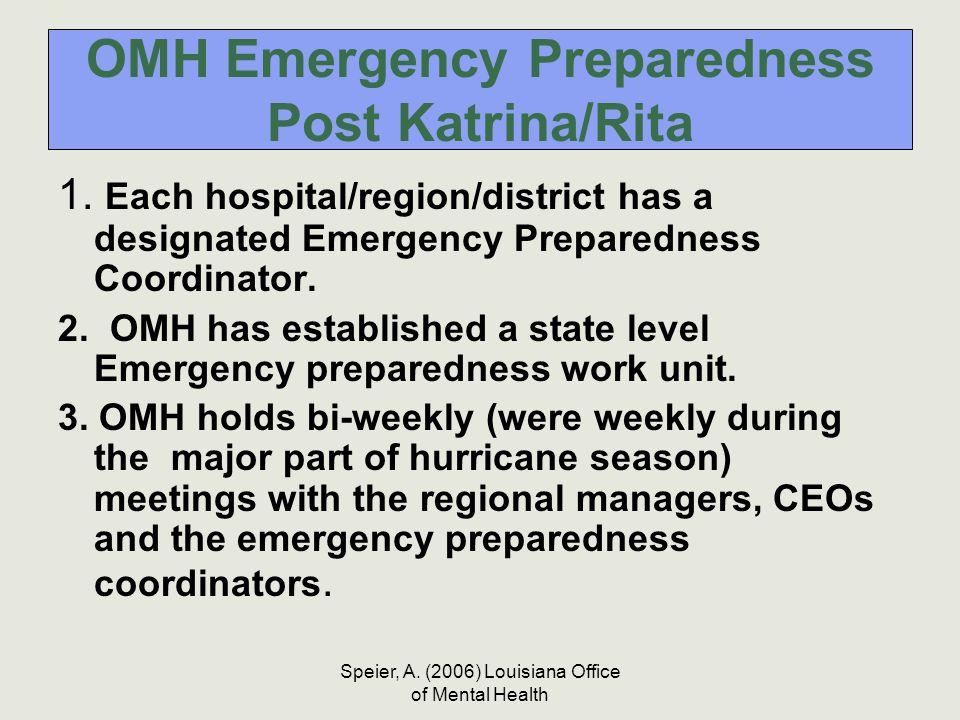 Speier, A. (2006) Louisiana Office of Mental Health OMH Emergency Preparedness Post Katrina/Rita 1. Each hospital/region/district has a designated Eme