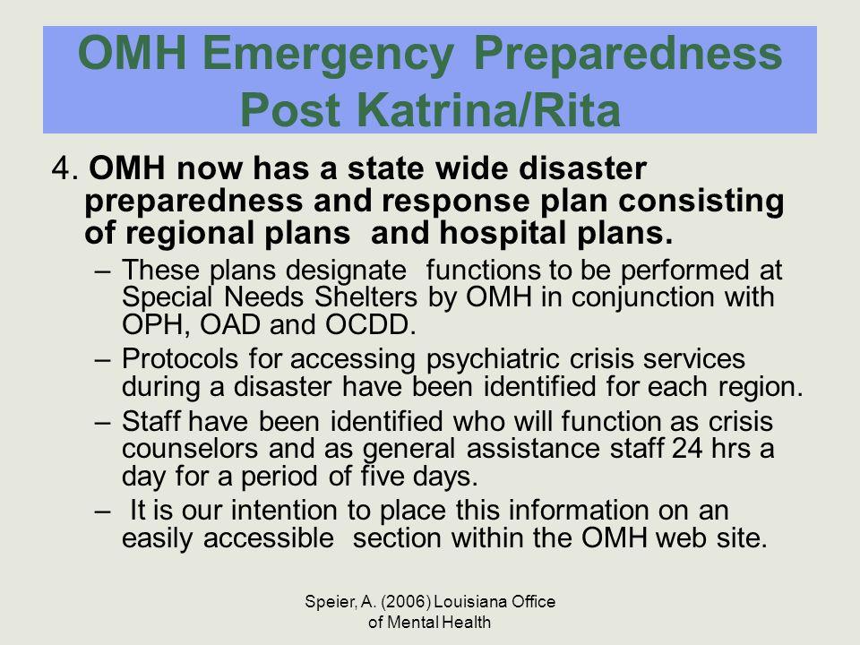 Speier, A. (2006) Louisiana Office of Mental Health OMH Emergency Preparedness Post Katrina/Rita 4. OMH now has a state wide disaster preparedness and