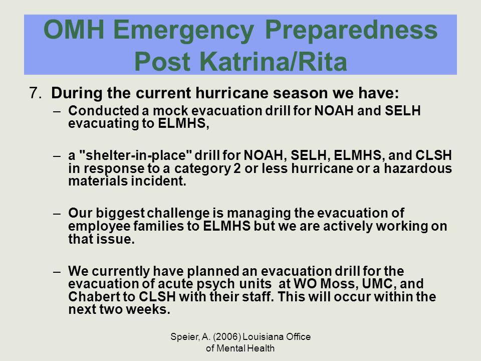 Speier, A. (2006) Louisiana Office of Mental Health OMH Emergency Preparedness Post Katrina/Rita 7. During the current hurricane season we have: –Cond