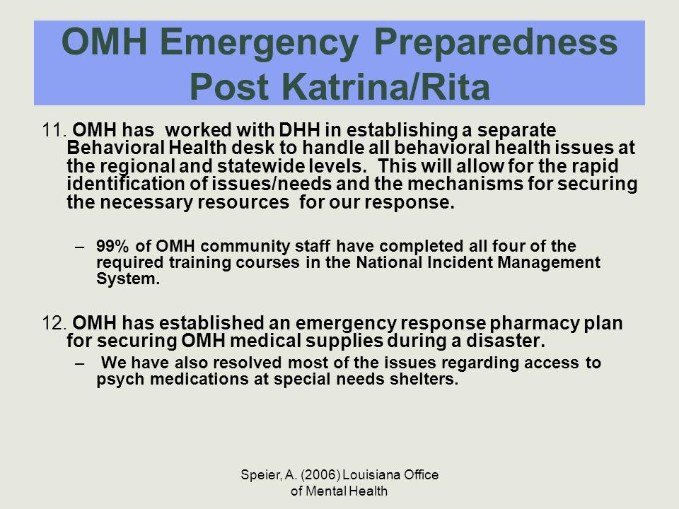 Speier, A. (2006) Louisiana Office of Mental Health OMH Emergency Preparedness Post Katrina/Rita 11. OMH has worked with DHH in establishing a separat