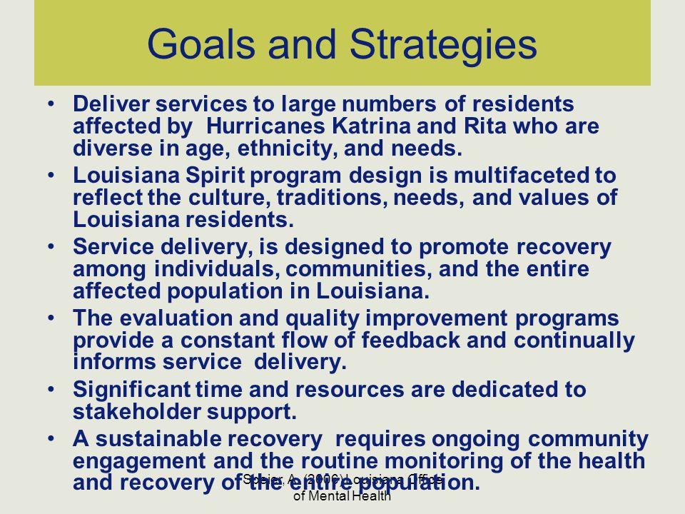 Speier, A. (2006) Louisiana Office of Mental Health Goals and Strategies Deliver services to large numbers of residents affected by Hurricanes Katrina