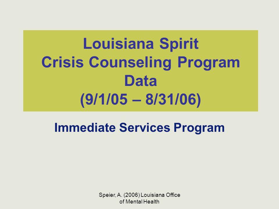Speier, A. (2006) Louisiana Office of Mental Health Louisiana Spirit Crisis Counseling Program Data (9/1/05 – 8/31/06) Immediate Services Program