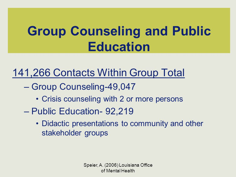 Speier, A. (2006) Louisiana Office of Mental Health Group Counseling and Public Education 141,266 Contacts Within Group Total –Group Counseling-49,047