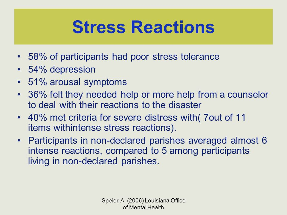 Speier, A. (2006) Louisiana Office of Mental Health Stress Reactions 58% of participants had poor stress tolerance 54% depression 51% arousal symptoms