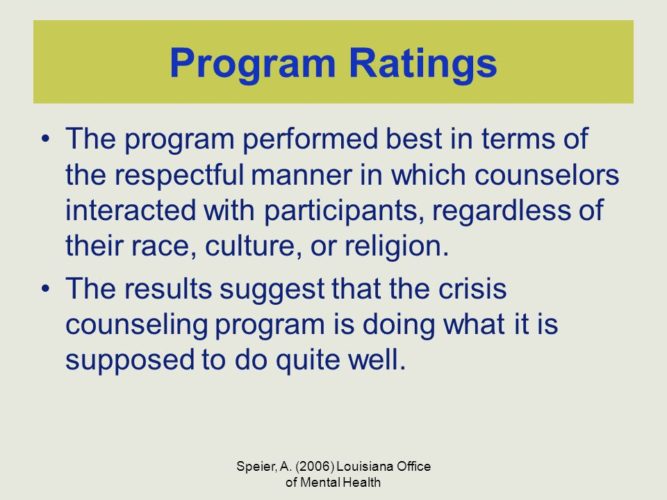 Speier, A. (2006) Louisiana Office of Mental Health Program Ratings The program performed best in terms of the respectful manner in which counselors i