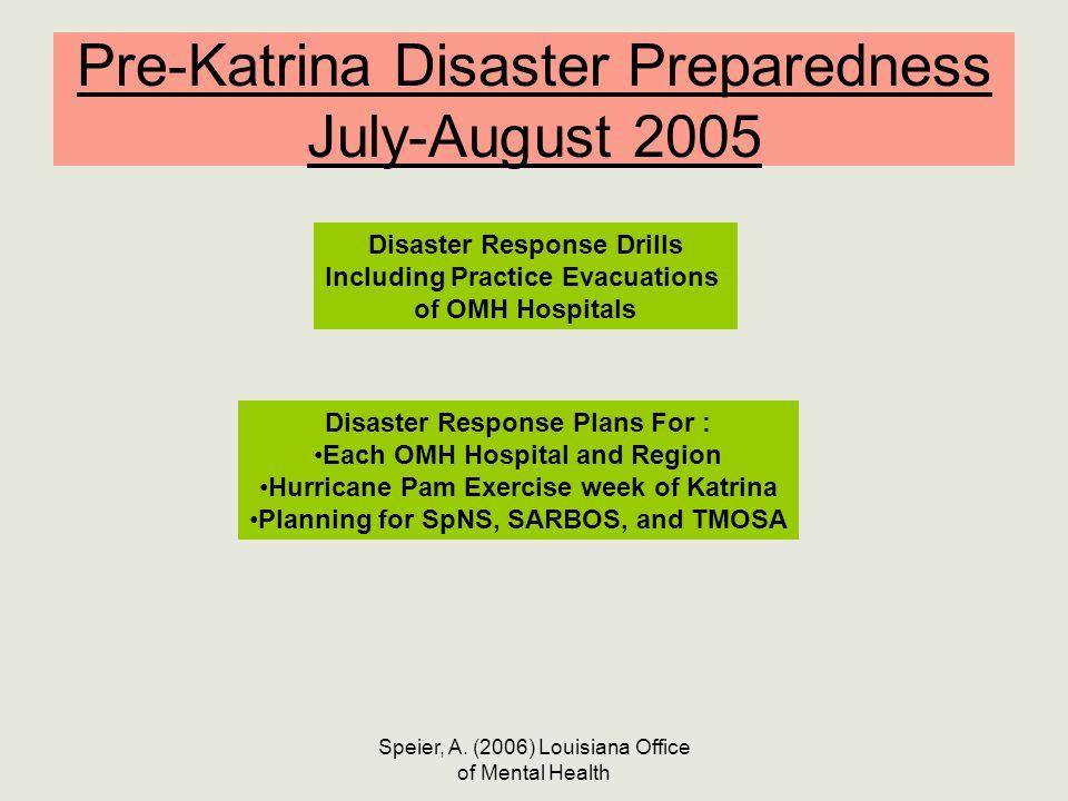 Speier, A. (2006) Louisiana Office of Mental Health Pre-Katrina Disaster Preparedness July-August 2005 Disaster Response Drills Including Practice Eva