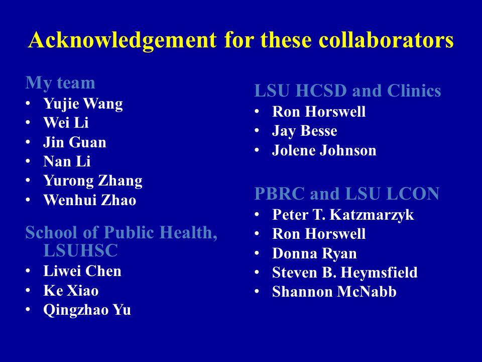 Acknowledgement for these collaborators My team Yujie Wang Wei Li Jin Guan Nan Li Yurong Zhang Wenhui Zhao School of Public Health, LSUHSC Liwei Chen Ke Xiao Qingzhao Yu LSU HCSD and Clinics Ron Horswell Jay Besse Jolene Johnson PBRC and LSU LCON Peter T.