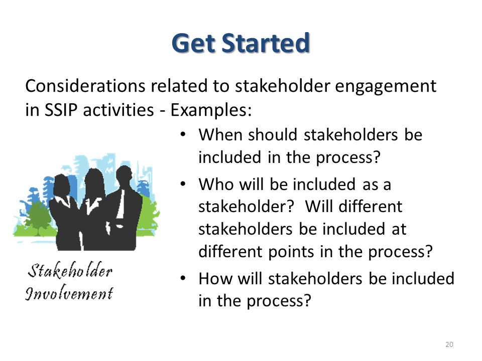 Get Started When should stakeholders be included in the process? Who will be included as a stakeholder? Will different stakeholders be included at dif