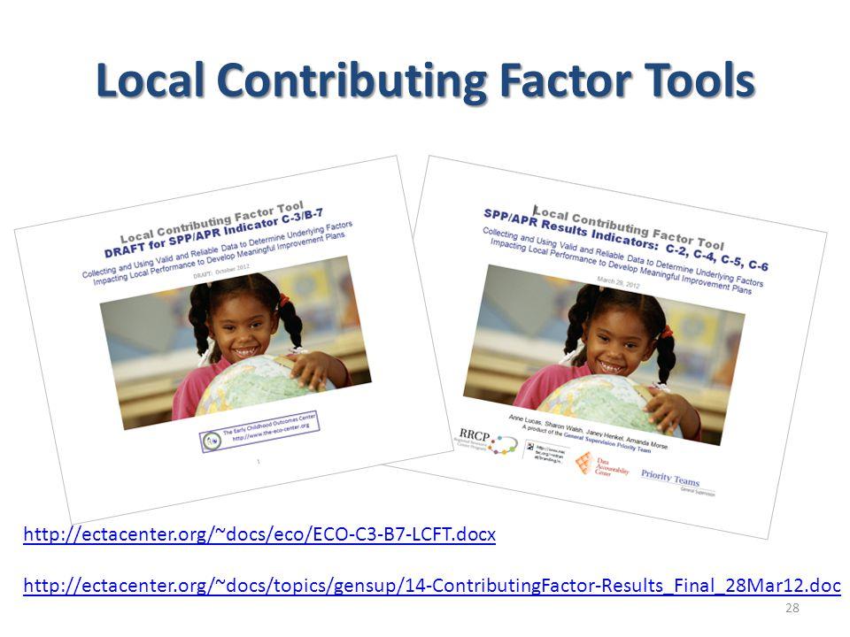 Local Contributing Factor Tools http://ectacenter.org/~docs/eco/ECO-C3-B7-LCFT.docx http://ectacenter.org/~docs/topics/gensup/14-ContributingFactor-Re
