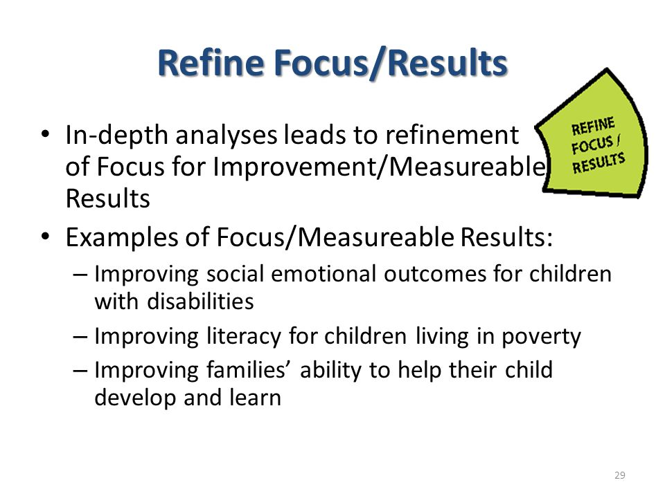 Refine Focus/Results In-depth analyses leads to refinement of Focus for Improvement/Measureable Results Examples of Focus/Measureable Results: – Impro