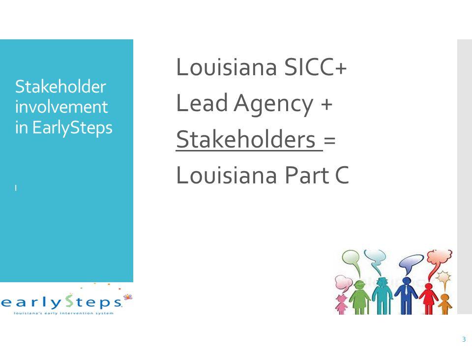 Stakeholder involvement in EarlySteps l Louisiana SICC+ Lead Agency + Stakeholders = Louisiana Part C 3