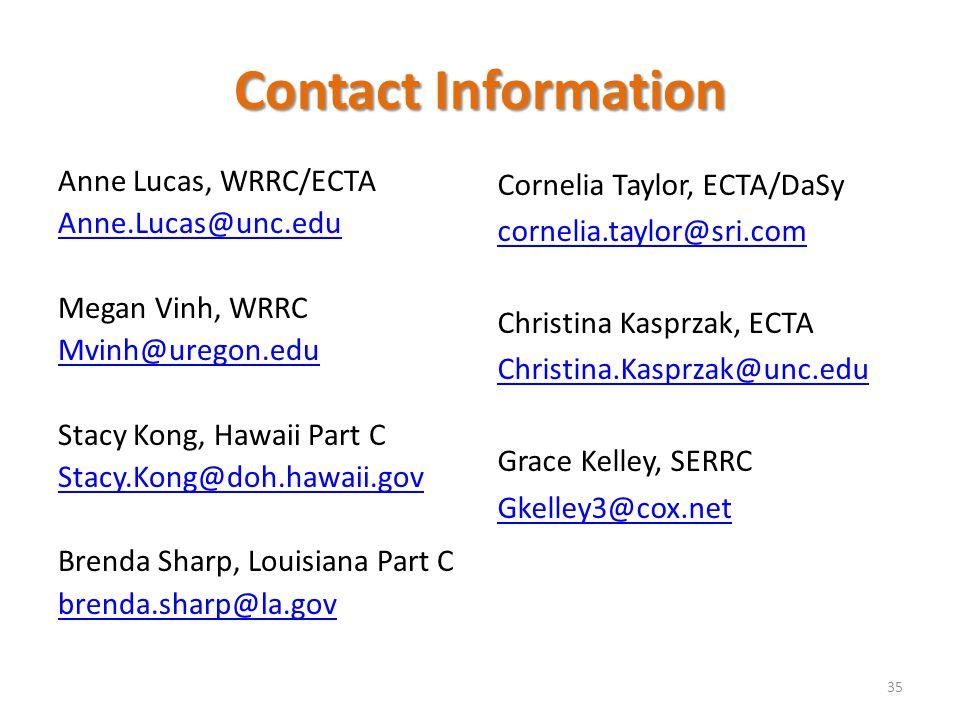 Contact Information Anne Lucas, WRRC/ECTA Anne.Lucas@unc.edu Megan Vinh, WRRC Mvinh@uregon.edu Stacy Kong, Hawaii Part C Stacy.Kong@doh.hawaii.gov Bre