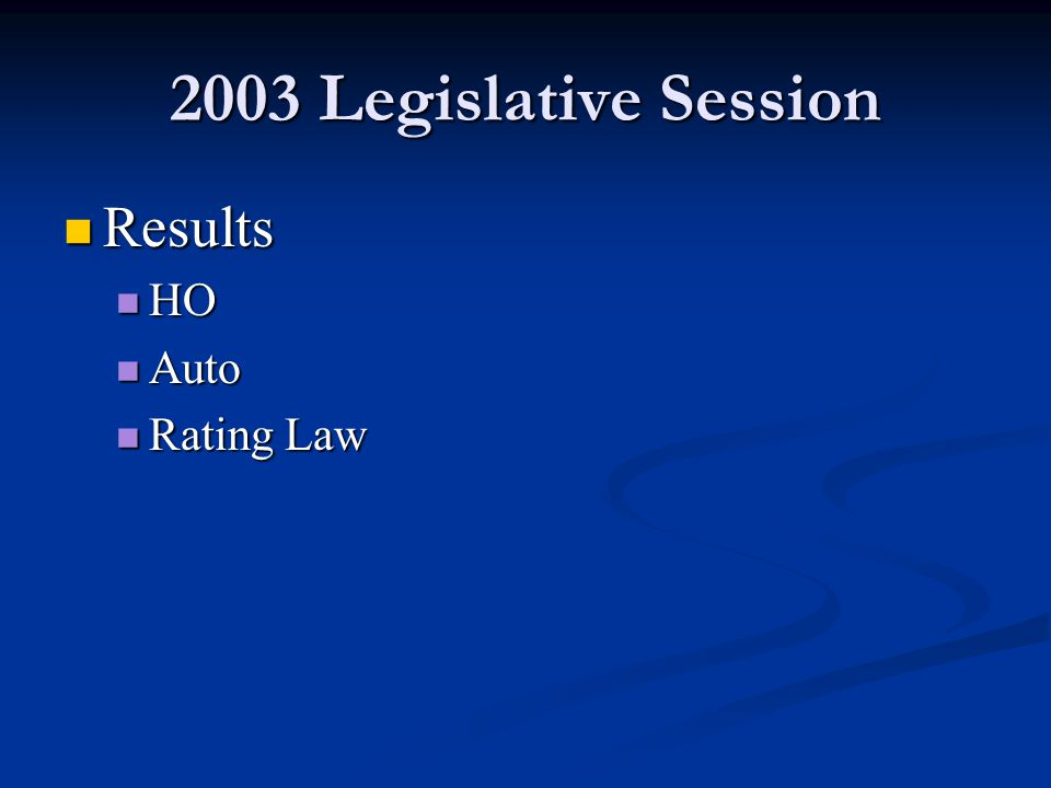 2003 Legislative Session Results Results HO HO Auto Auto Rating Law Rating Law