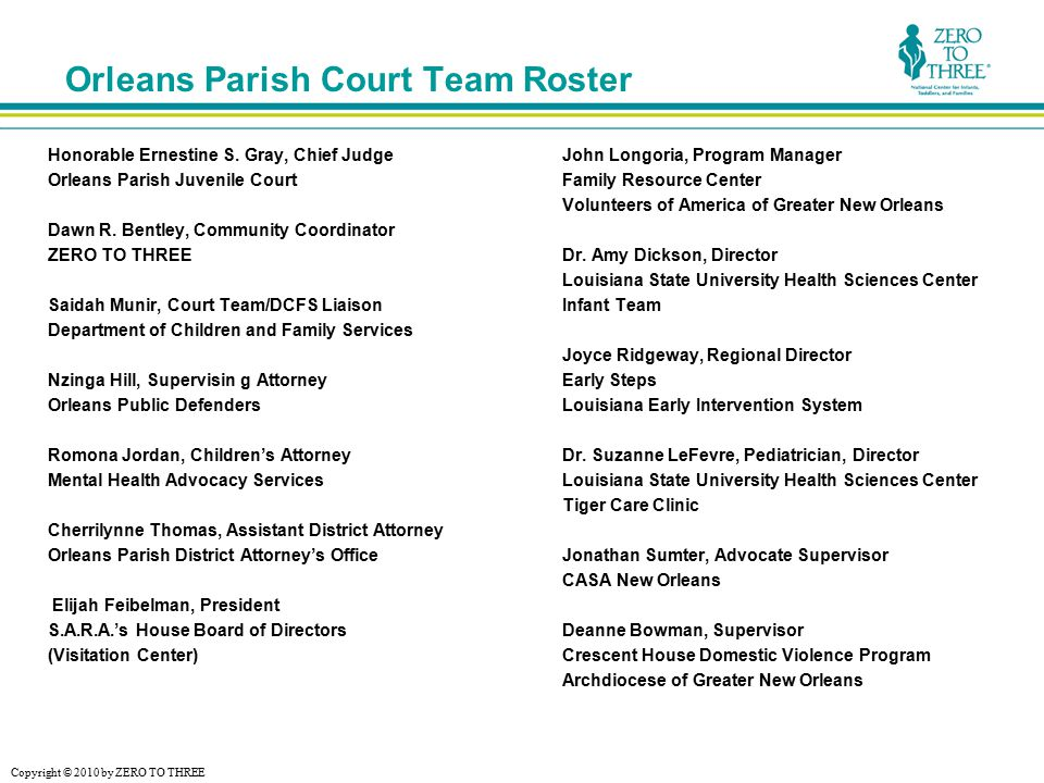Copyright © 2010 by ZERO TO THREE Orleans Parish Court Team Roster Honorable Ernestine S.