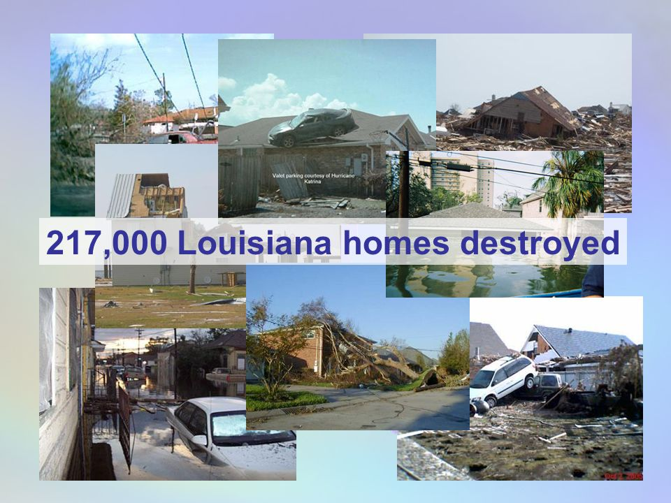 Number of Homes Destroyed by Major Hurricanes* Number for Louisiana alone estimated to be over 217,000 * Destruction is defined as a structure made uninhabitable or damaged beyond economic repair.