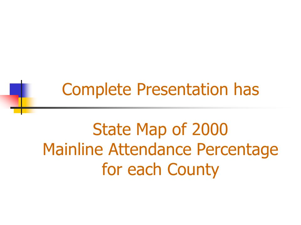 Complete Presentation has State Map of 2000 Mainline Attendance Percentage for each County