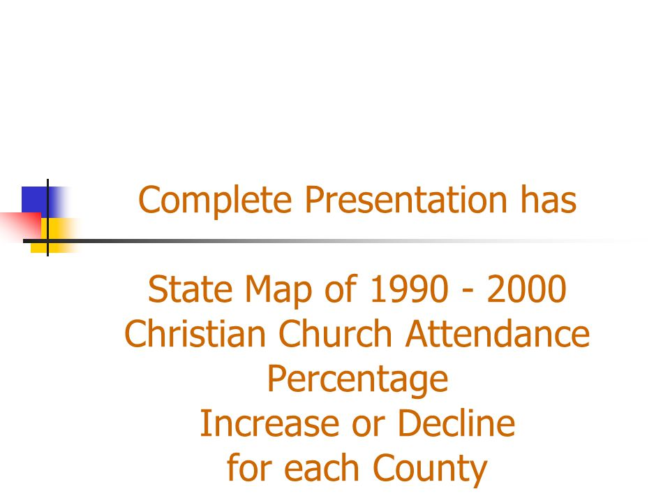Complete Presentation has State Map of 1990 - 2000 Christian Church Attendance Percentage Increase or Decline for each County