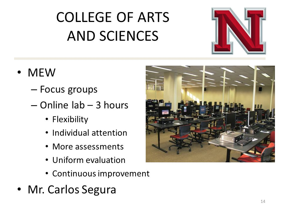 COLLEGE OF ARTS AND SCIENCES MEW – Focus groups – Online lab – 3 hours Flexibility Individual attention More assessments Uniform evaluation Continuous improvement Mr.