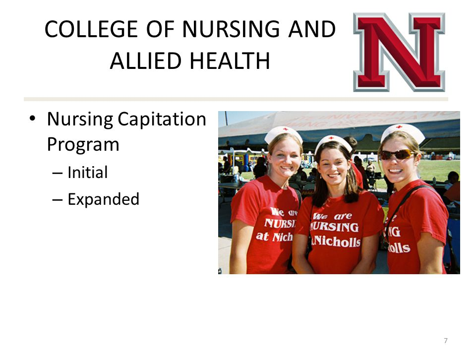 COLLEGE OF NURSING AND ALLIED HEALTH Nursing Capitation Program – Initial – Expanded 7