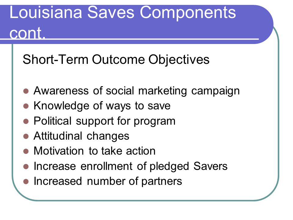 Louisiana Saves Components cont. Short-Term Outcome Objectives Awareness of social marketing campaign Knowledge of ways to save Political support for