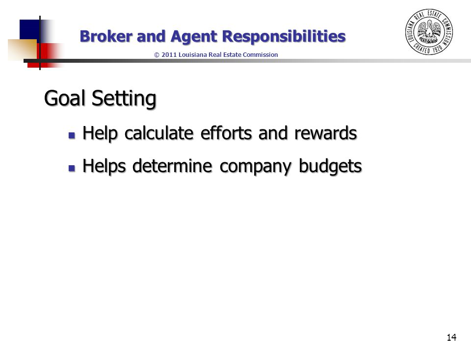 Broker and Agent Responsibilities © 2011 Louisiana Real Estate Commission Goal Setting Help calculate efforts and rewards Help calculate efforts and rewards Helps determine company budgets Helps determine company budgets 14