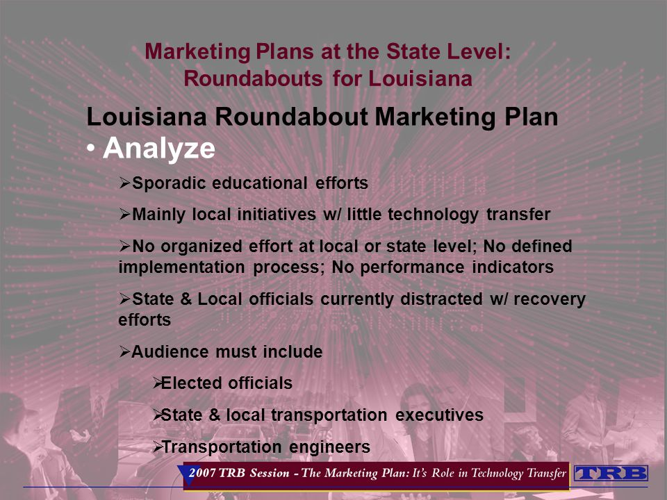Marketing Plans at the State Level: Roundabouts for Louisiana Louisiana Roundabout Marketing Plan Analyze  Sporadic educational efforts  Mainly local initiatives w/ little technology transfer  No organized effort at local or state level; No defined implementation process; No performance indicators  State & Local officials currently distracted w/ recovery efforts  Audience must include  Elected officials  State & local transportation executives  Transportation engineers