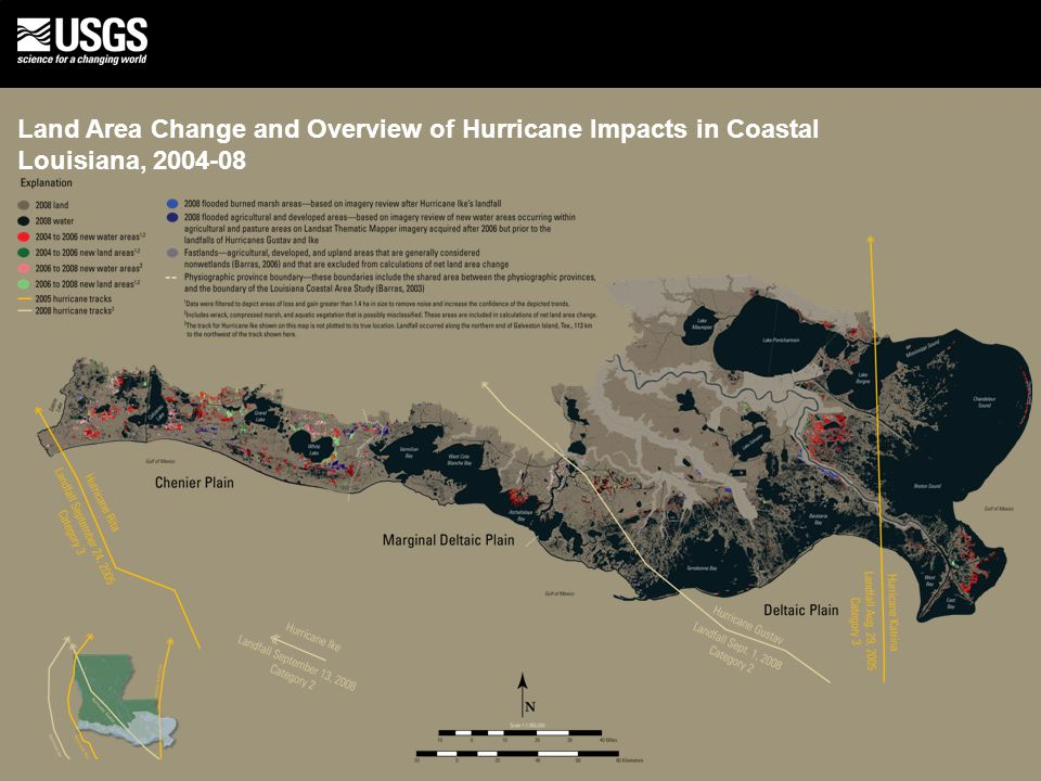 Land Area Change and Overview of Hurricane Impacts in Coastal Louisiana, 2004-08