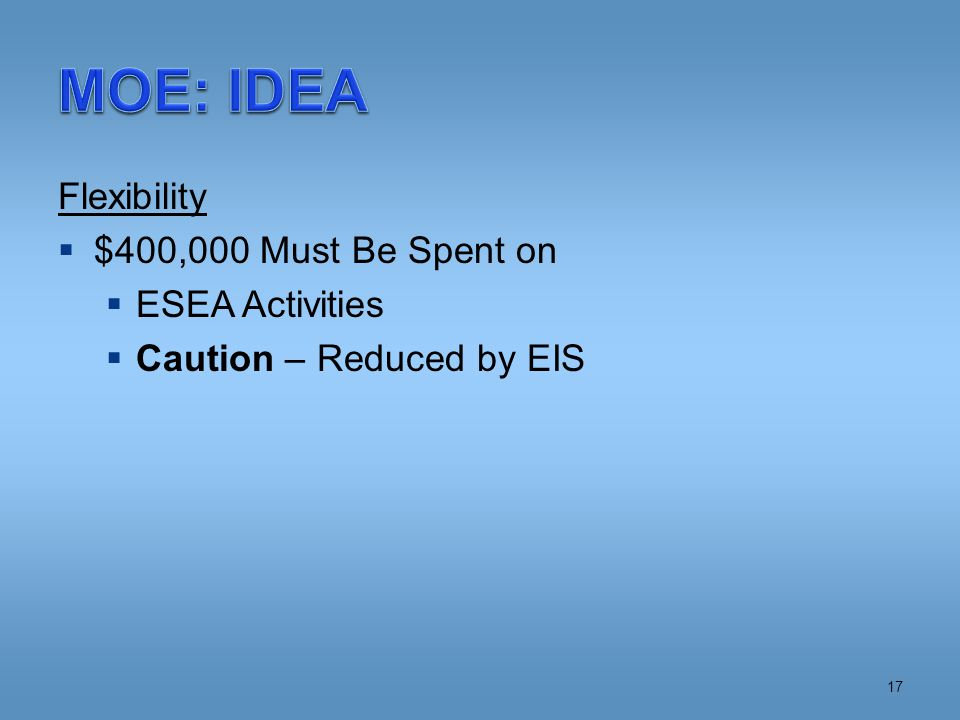 Flexibility  $400,000 Must Be Spent on  ESEA Activities  Caution – Reduced by EIS 17