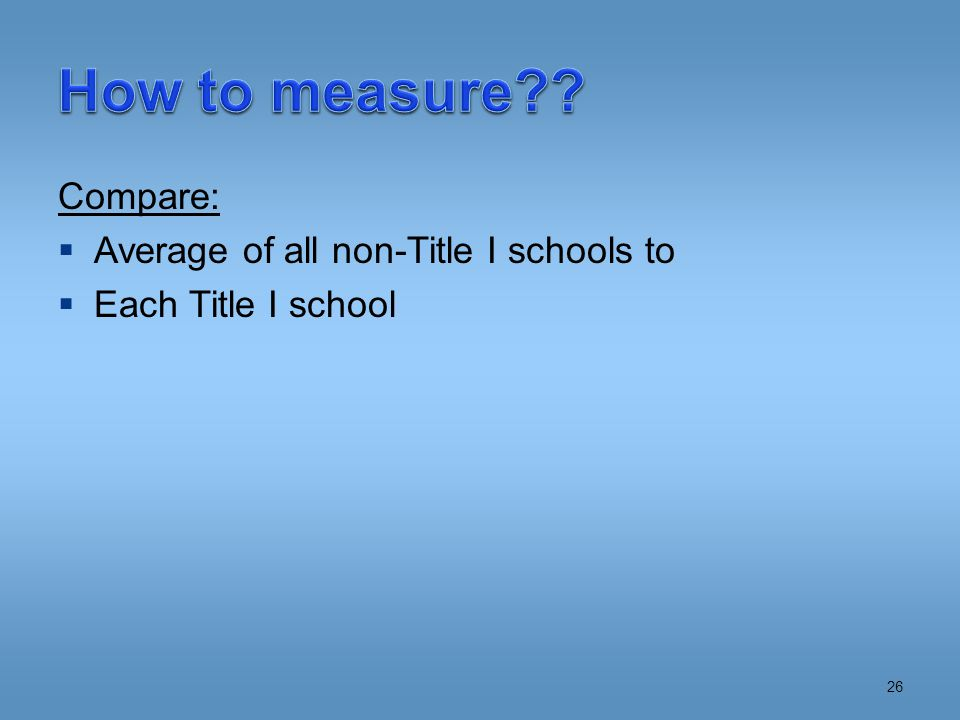 Compare:  Average of all non-Title I schools to  Each Title I school 26