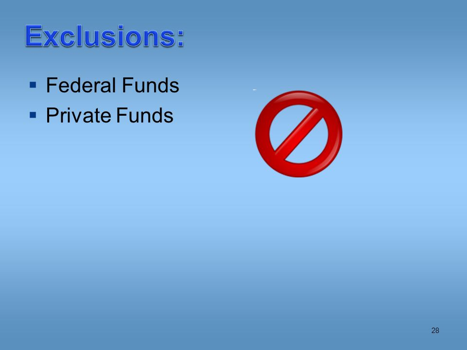  Federal Funds  Private Funds 28