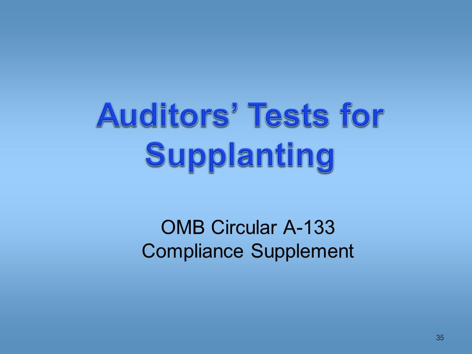 OMB Circular A-133 Compliance Supplement 35