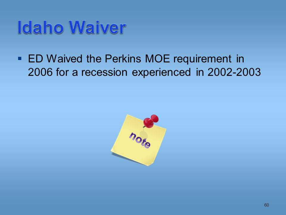  ED Waived the Perkins MOE requirement in 2006 for a recession experienced in 2002-2003 60