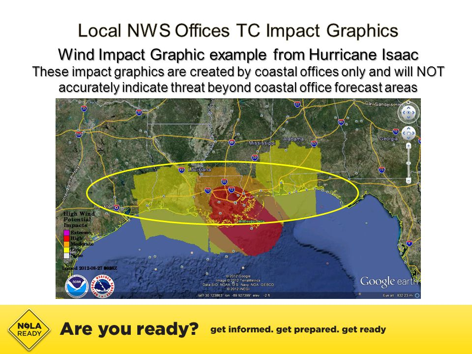 Wind Impact Graphic example from Hurricane Isaac These impact graphics are created by coastal offices only and will NOT accurately indicate threat beyond coastal office forecast areas