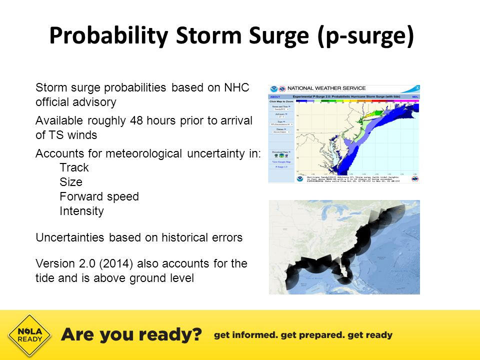 ● Storm surge probabilities based on NHC official advisory ● Available roughly 48 hours prior to arrival of TS winds ● Accounts for meteorological uncertainty in: ● Track ● Size ● Forward speed ● Intensity ● Uncertainties based on historical errors ● Version 2.0 (2014) also accounts for the tide and is above ground level Probability Storm Surge (p-surge)