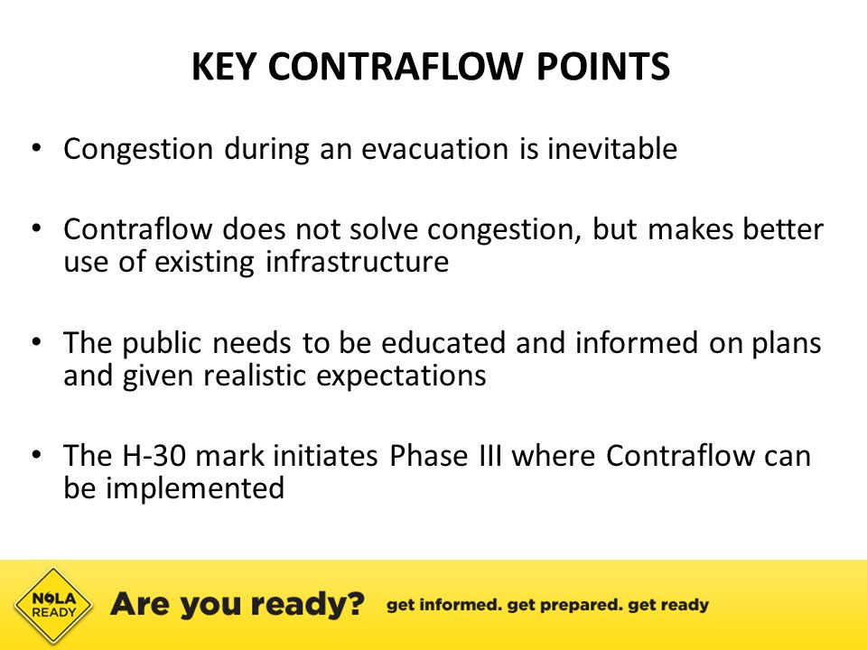KEY CONTRAFLOW POINTS Congestion during an evacuation is inevitable Contraflow does not solve congestion, but makes better use of existing infrastructure The public needs to be educated and informed on plans and given realistic expectations The H-30 mark initiates Phase III where Contraflow can be implemented