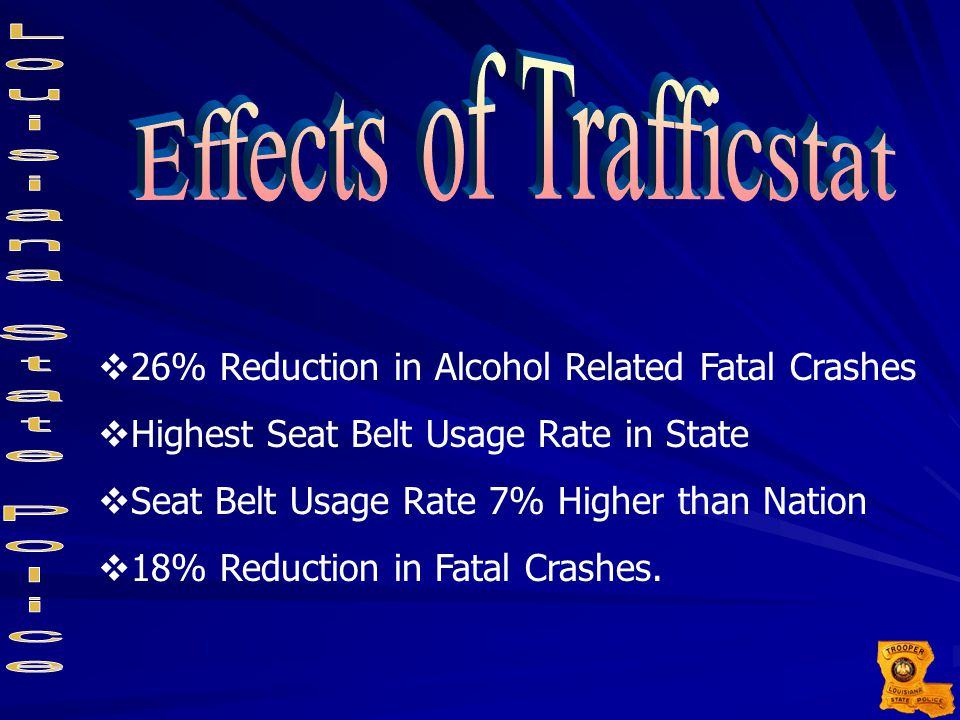  26% Reduction in Alcohol Related Fatal Crashes  Highest Seat Belt Usage Rate in State  Seat Belt Usage Rate 7% Higher than Nation  18% Reduction