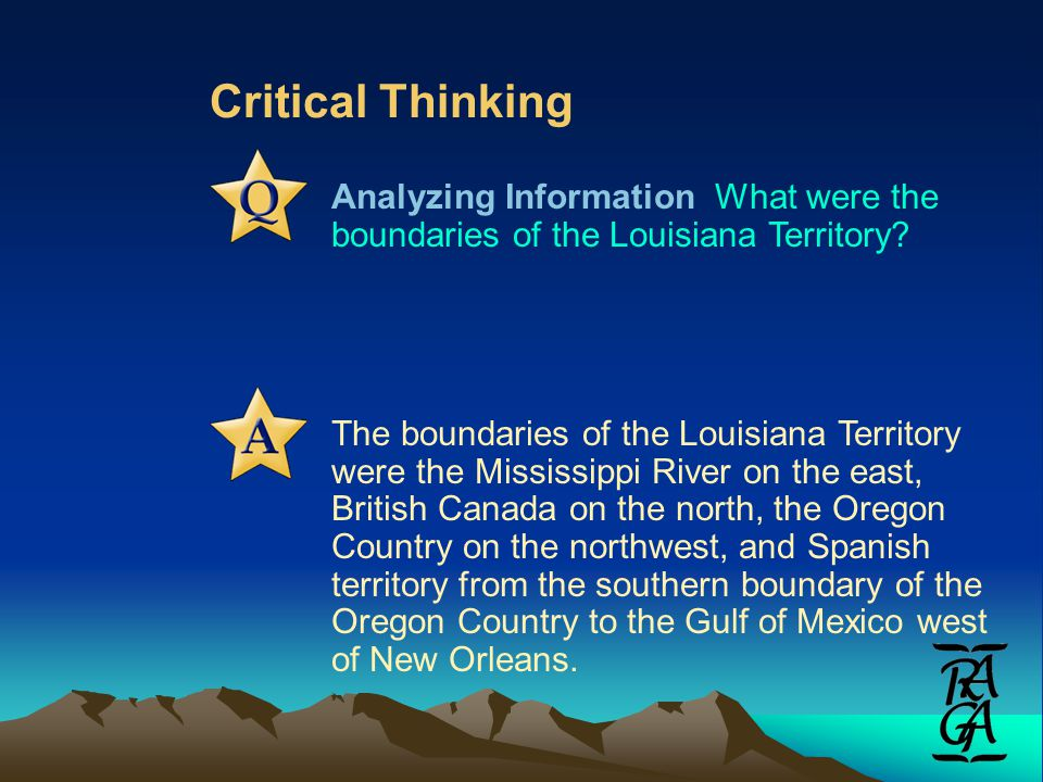 Critical Thinking Analyzing Information What were the boundaries of the Louisiana Territory.