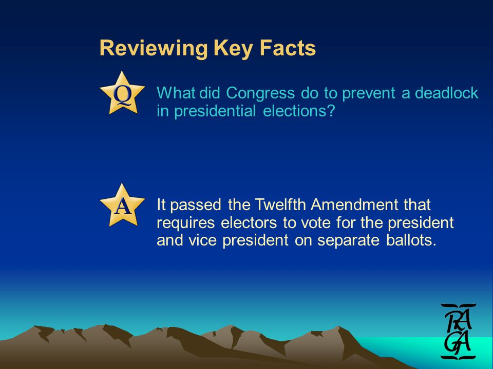 Reviewing Key Facts What did Congress do to prevent a deadlock in presidential elections.