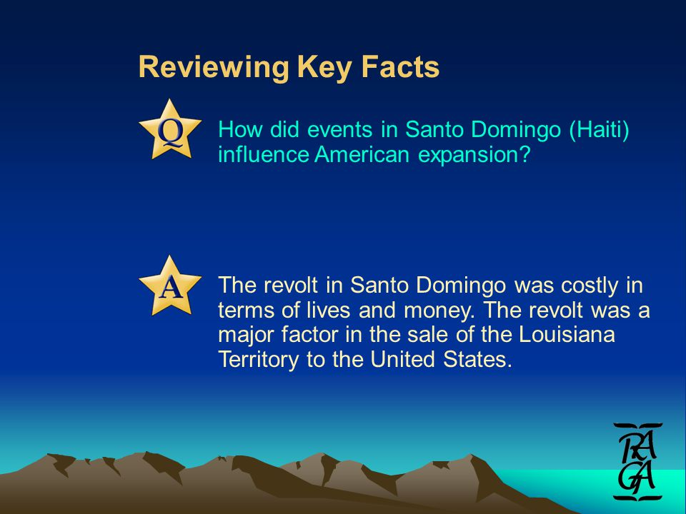 Reviewing Key Facts How did events in Santo Domingo (Haiti) influence American expansion.